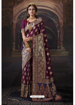 Deep Wine Heavy Embroidered Classic Designer Banarasi Silk Sari
