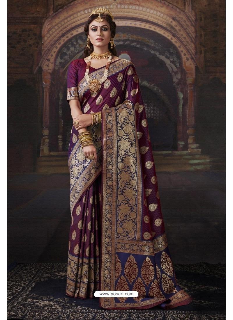 Deep Wine Heavy Embroidered Classic Designer Banarasi Silk Sari