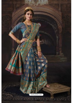 Teal Blue Heavy Embroidered Classic Designer Banarasi Silk Sari