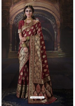Maroon Heavy Embroidered Classic Designer Banarasi Silk Sari
