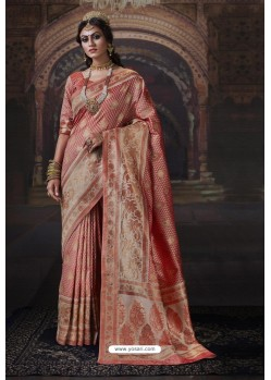 Light Red Heavy Embroidered Classic Designer Banarasi Silk Sari