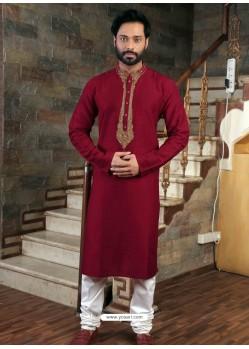 Maroon Readymade Slub Silk Designer Kurta Pajama For Men