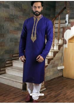 Royal Blue Readymade Slub Silk Designer Kurta Pajama For Men
