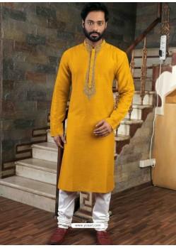 Yellow Readymade Slub Silk Designer Kurta Pajama For Men