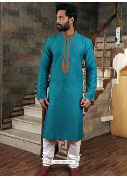 Teal Blue Readymade Slub Silk Designer Kurta Pajama For Men