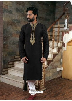 Black Readymade Slub Silk Designer Kurta Pajama For Men