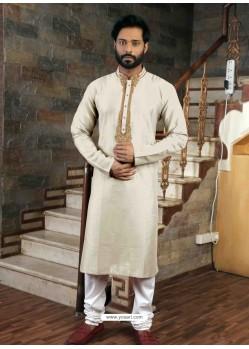 Off White Readymade Slub Silk Designer Kurta Pajama For Men