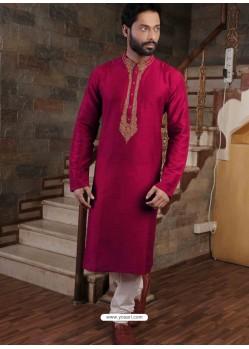 Crimson Readymade Slub Silk Designer Kurta Pajama For Men