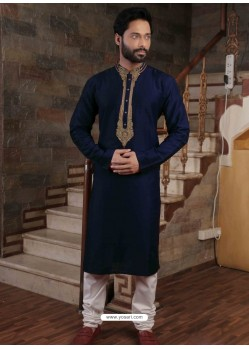 Navy Blue Readymade Slub Silk Designer Kurta Pajama For Men