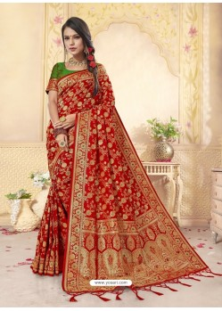 Red Latest Designer Banarasi Silk Wedding Sari