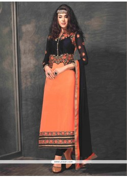 Extraordinary Orange Georgette Churidar Salwar Kameez