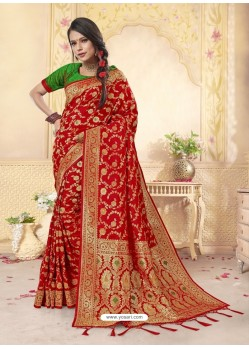 Classy Red Latest Designer Banarasi Silk Wedding Sari