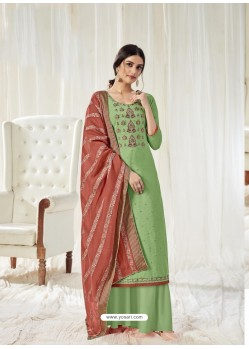 Green Designer Pure Dola Cotton Party Wear Palazzo Salwar Suit