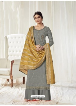 Grey Designer Pure Dola Cotton Party Wear Palazzo Salwar Suit