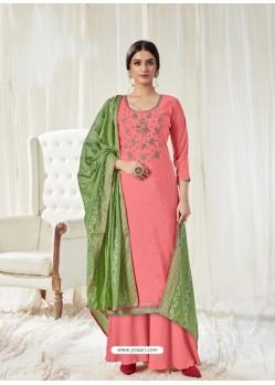 Peach Designer Pure Dola Cotton Party Wear Palazzo Salwar Suit
