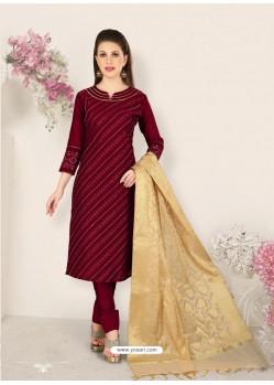 Maroon Party Wear Designer Straight Salwar Suit
