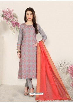 Light Grey Party Wear Designer Straight Salwar Suit
