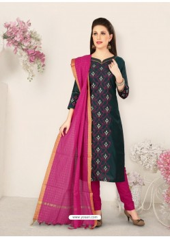 Peacock Blue Party Wear Designer Straight Salwar Suit