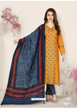 Mustard Party Wear Designer Straight Salwar Suit