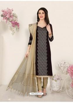 Coffee Party Wear Designer Straight Salwar Suit