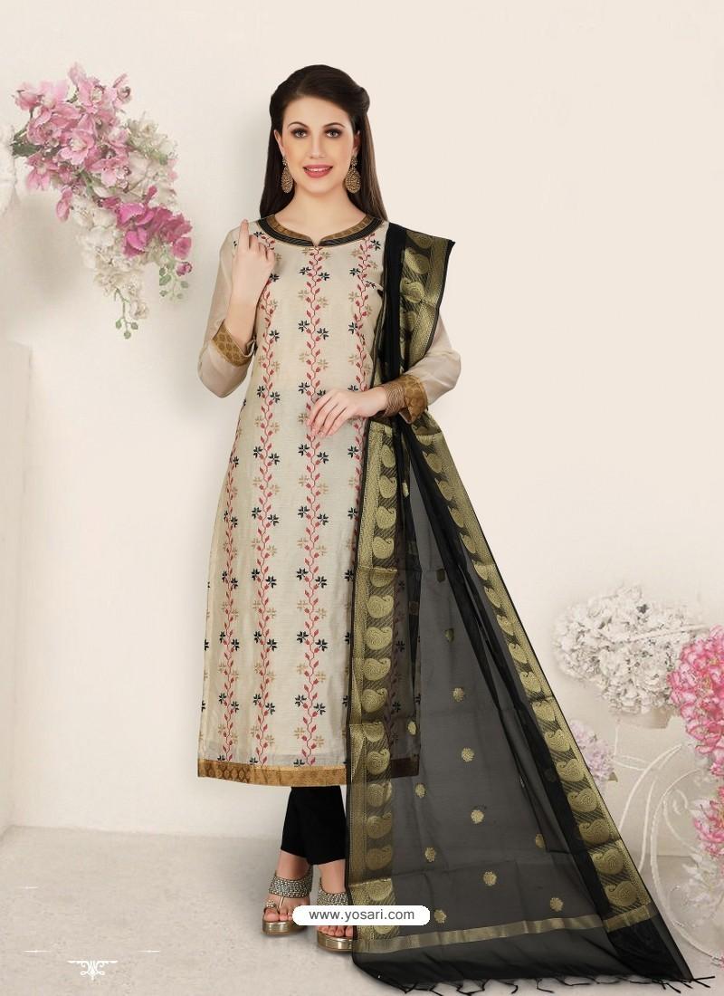 Off White Party Wear Designer Straight Salwar Suit
