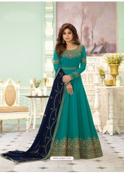 Teal Latest Designer Wedding Gown Style Anarkali Suit