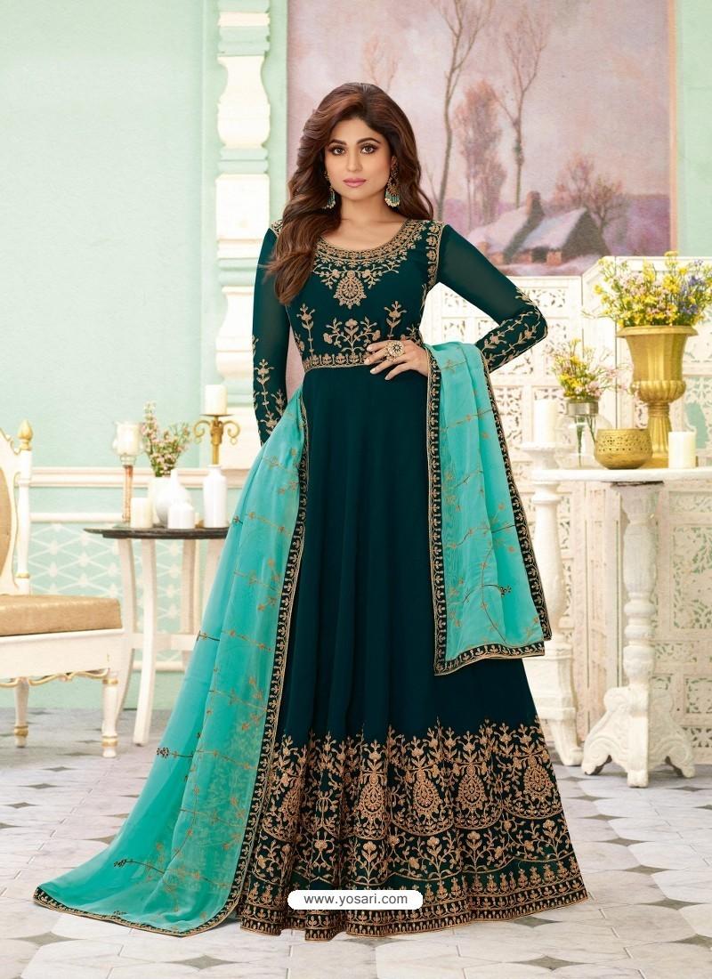 Teal Green Latest Designer Wedding Gown Style Anarkali Suit