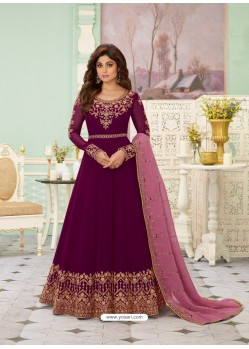 Purple Latest Designer Wedding Gown Style Anarkali Suit