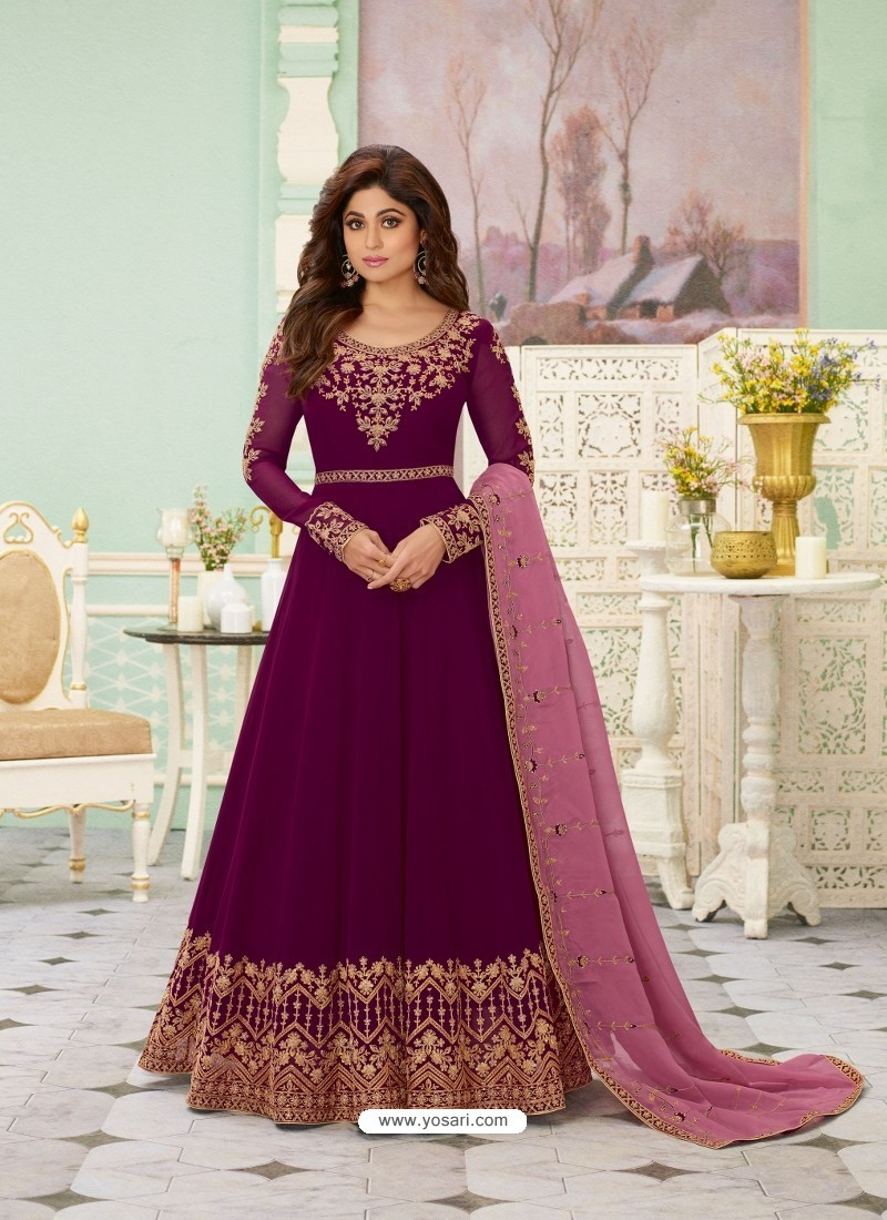 Purple Latest Designer Wedding Gown Style Anarkali Suit