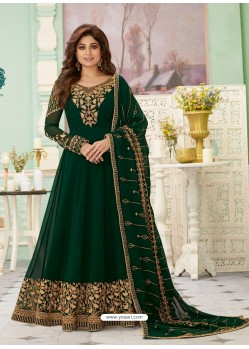 Dark Green Latest Designer Wedding Gown Style Anarkali Suit