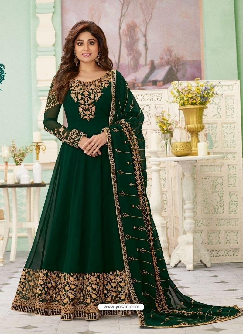 Dark Green Latest Designer Wedding Gown Style Anarkali Suit