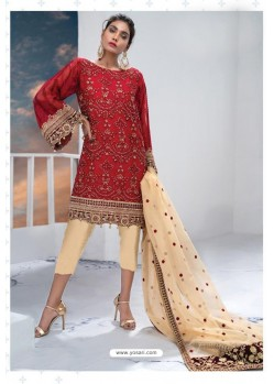 Red Latest Heavy Designer Party Wear Pakistani Style Salwar Suit