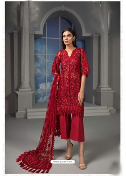 Red Latest Heavy Net Designer Party Wear Pakistani Style Salwar Suit