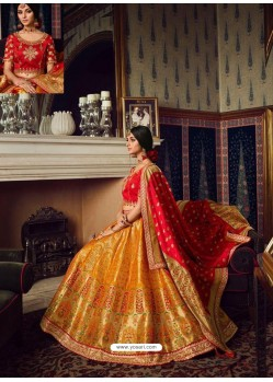 Mustard Heavy Embroidered Designer Wedding Lehenga Choli