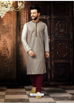 Light Grey Readymade Designer Kurta Pajama For Men