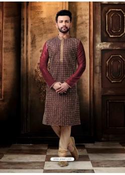 Maroon Readymade Designer Kurta Pajama For Men