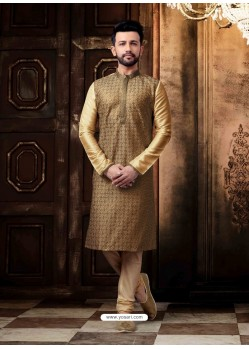Cream Readymade Designer Kurta Pajama For Men