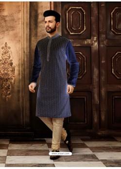 Navy Blue Readymade Designer Kurta Pajama For Men