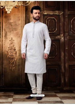 White Readymade Designer Kurta Pajama For Men