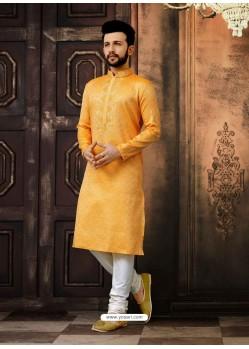 Mustard Readymade Designer Kurta Pajama For Men