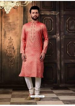 Peach Readymade Designer Kurta Pajama For Men