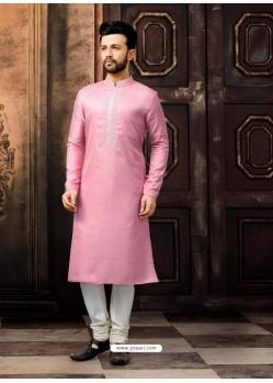 Pink Readymade Designer Kurta Pajama For Men