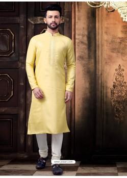 Light Yellow Readymade Designer Kurta Pajama For Men