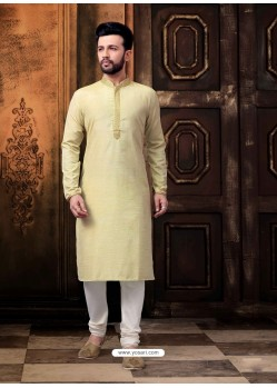 Khaki Readymade Designer Kurta Pajama For Men