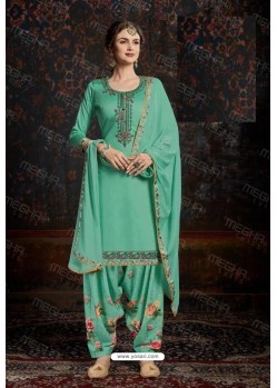 Aqua Mint Designer Wear Jam Satin Cotton Jacquard Punjabi Patiala Suit