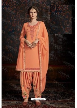 Light Orange Designer Wear Jam Satin Cotton Jacquard Punjabi Patiala Suit