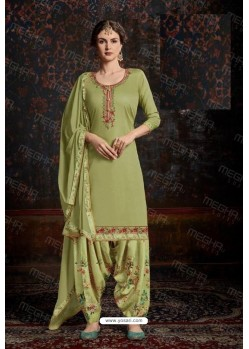 Green Designer Wear Jam Satin Cotton Jacquard Punjabi Patiala Suit