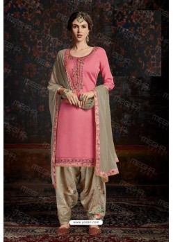 Light Pink Designer Wear Jam Satin Cotton Jacquard Punjabi Patiala Suit