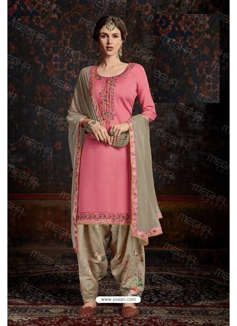 Light Pink Designer Wear Jam Satin Cotton Jacquard Punjabi Patiala Suit