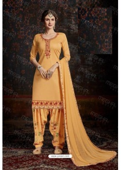 Mustard Designer Wear Jam Satin Cotton Jacquard Punjabi Patiala Suit